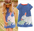 Lovely Rabbit Kids Baby Girls Clothing Summer Dresses Navy White Striped Cartoon Tutu Cute Dress Outfits 2 3 4 5 6 7Y