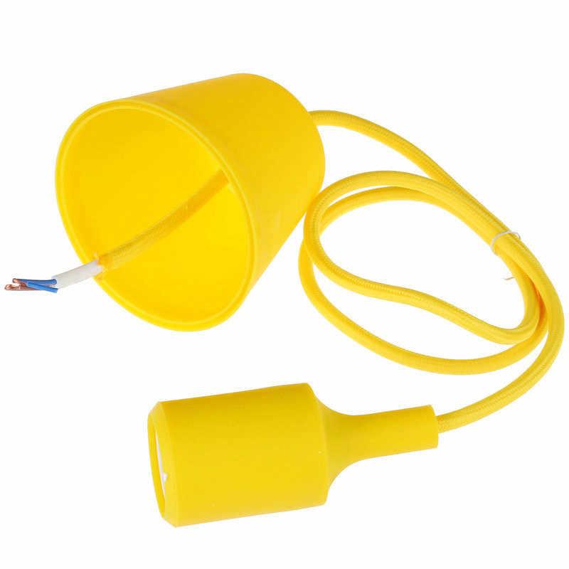 Modern Simple Single Head Silica Gel Chandelier AC90-260V E27 Holder 100cm Cord Colorful Colors Light Fixture