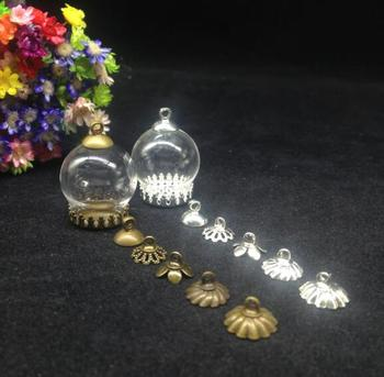 100pcs 20*15mm glass globe orb with crown tray 8mm cap findings set glass bubble cover dome jar DIY vial bottle necklace pendant