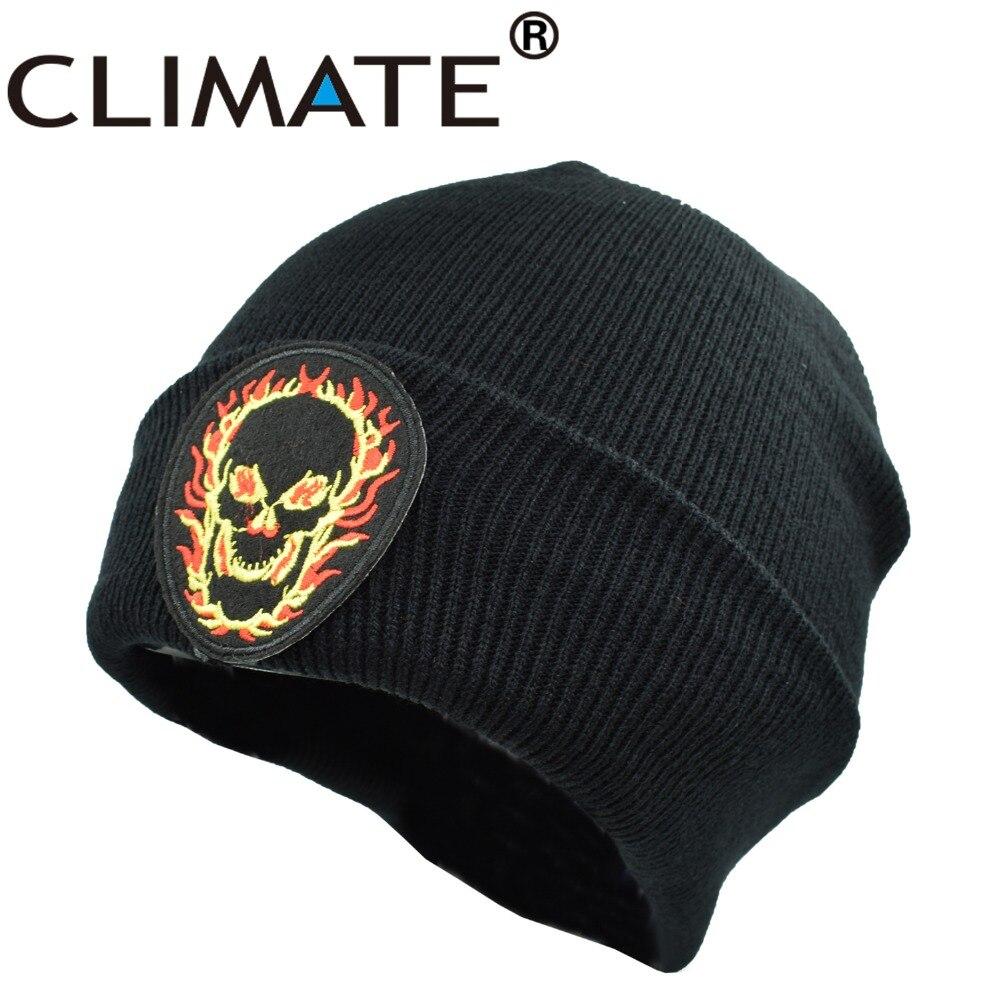 29c4304236e1 CLIMAT Hommes Femmes Hiver Chaud Beanie Chapeaux Cool Noir Squelette Skulll  doux Solide Bonnets Hip Hop Rock Chaud Tricoté Chapeaux Chapeau Hommes