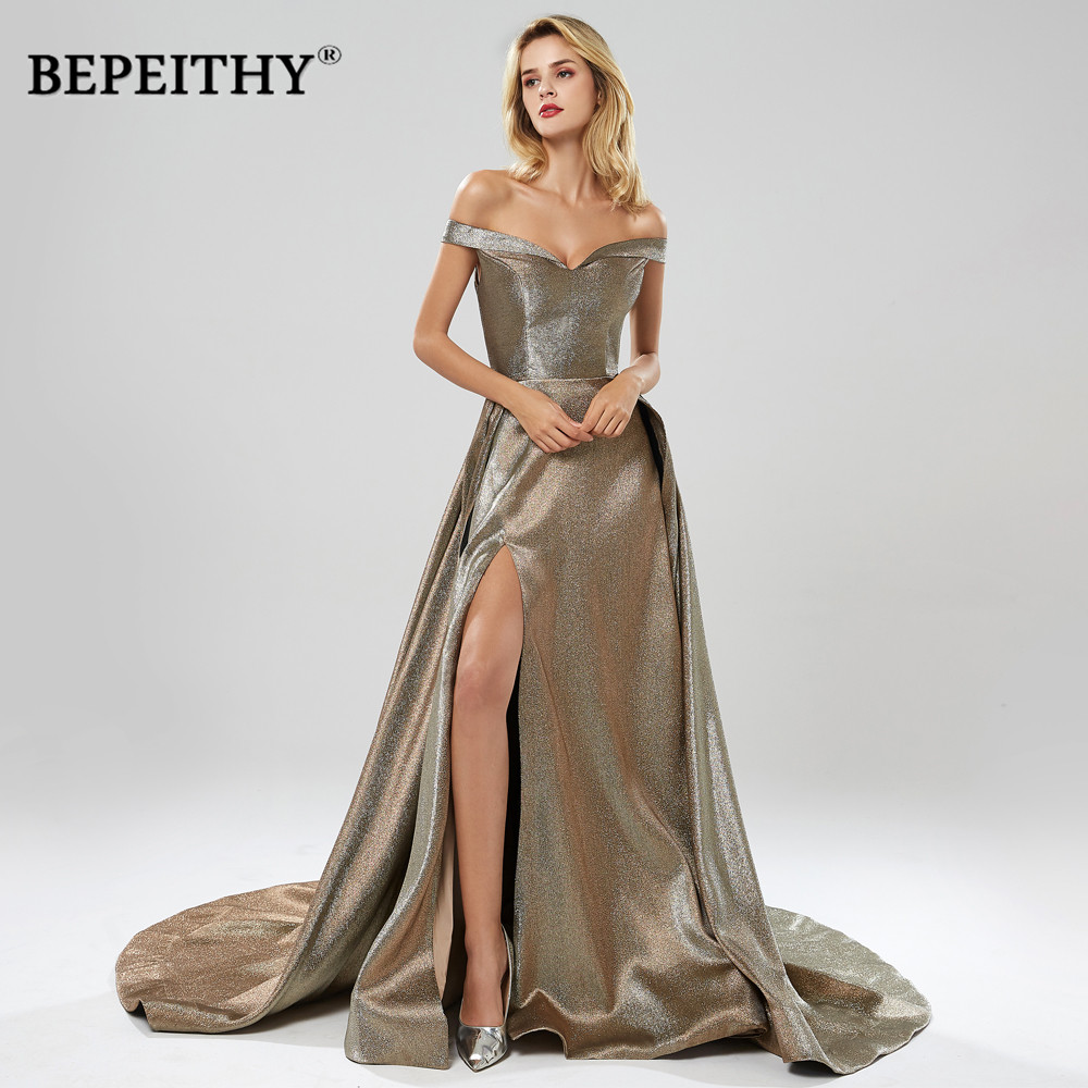BEPEITHY Robe De Soiree Off The Shoulder Long Evening Dress Party Elegant With Slit 2020 Sweep Train Glitter Sexy Prom Gown