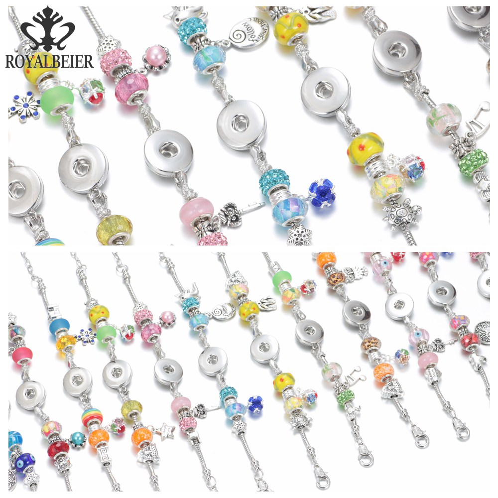 RoyalBeier 12pcs/lot Multi Styles Crystal Beaded Snap Bracelet Fit 18mm Snap Button 20mm Snap Bracelet Snap Jewelry SZ0378 spooky snap