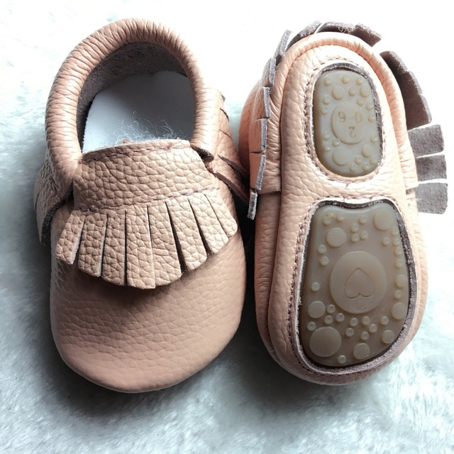 100 pairs/lot New hot sale Solid Genuine Leather Girl Boys handmade Toddler hard sole first walkers baby leather Shoes 20 colors