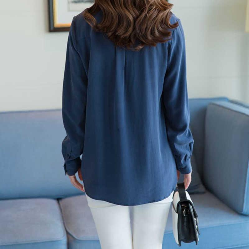 100% シルクブラウス女性シャツプラスサイズエレガントなシンプルなデザイン長袖オフィスワークトップ優雅なスタイル新ファッション 2017