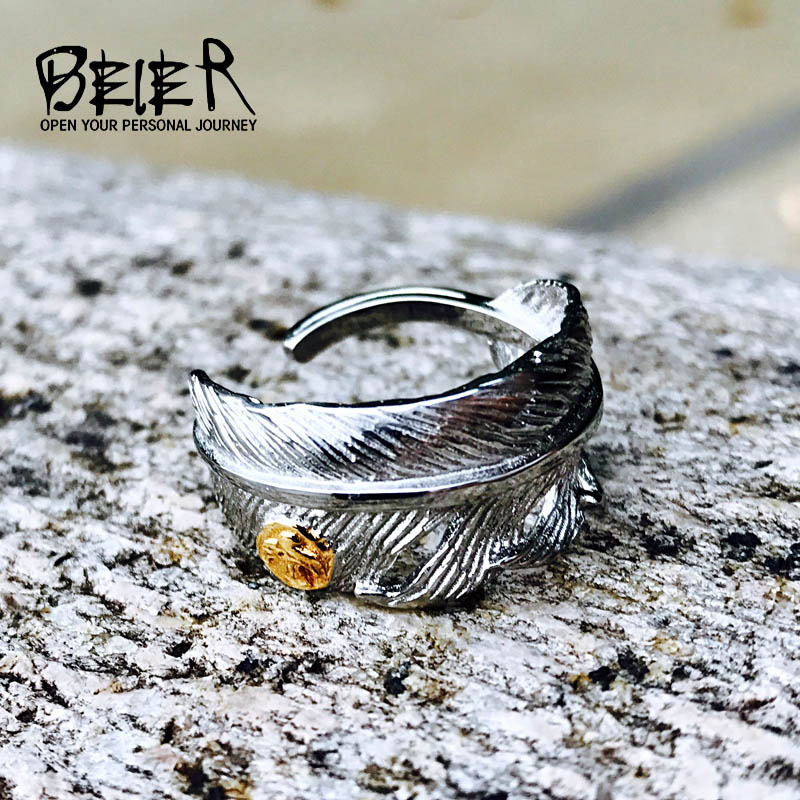 BEIER 2017 Stainless Steel Fashion Takahashi Plating white Feather Open Gold Eagle Ring Popular Lover Jewelry BR8-467