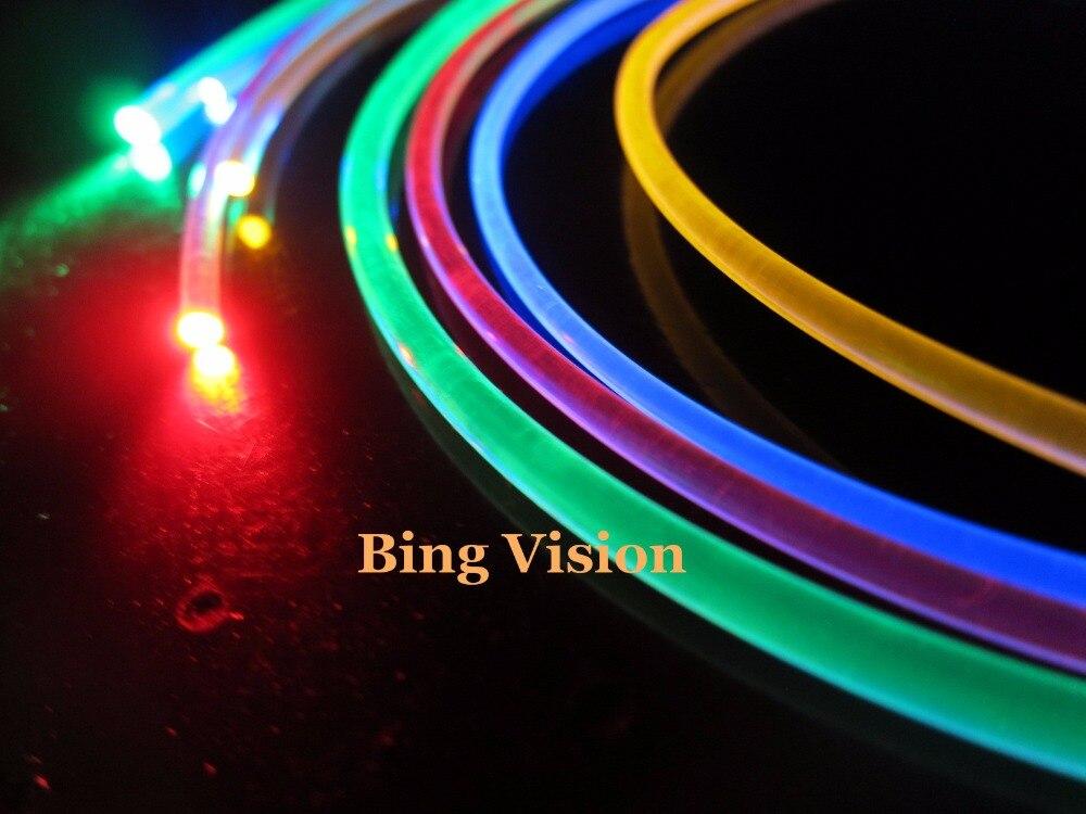 2.0 мм твердое ядро сторона свечение fiber50m супер мягкие яркий супер мягкие 2 мм диаметр для автомобилей или внутренней стороны излучающих оптическое волокно