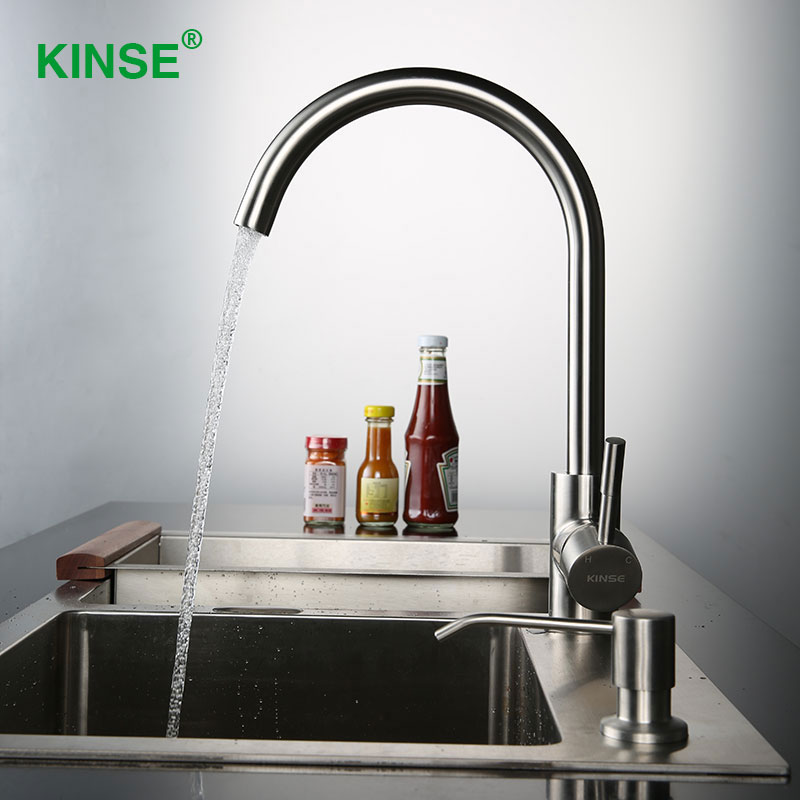 KINSE 304 Stainless Brushed Kitchen Faucet Cold and Hot Water Kitchen Sink Faucet