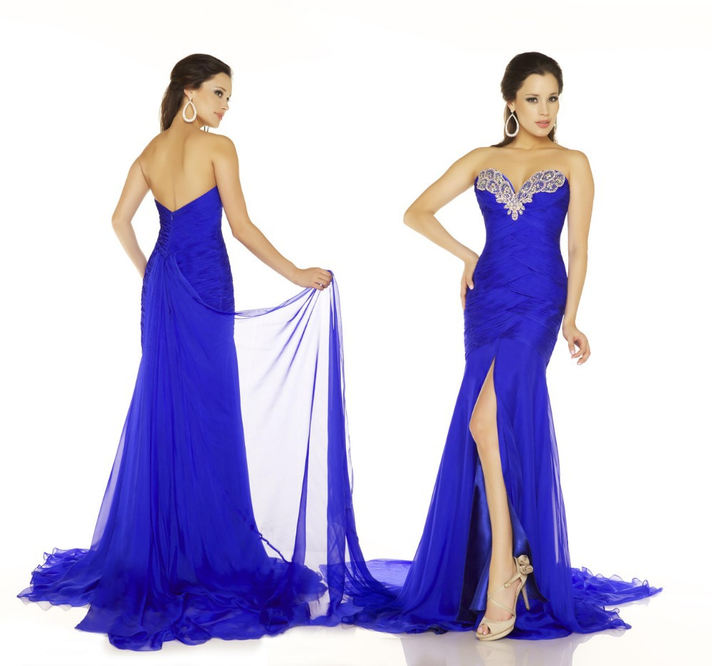 Y Heart Shape Neck Pleated Crystal Beading Mermaid Prom Dress Royal Blue Detachable Skirt Dresses 2017 In From Weddings Events