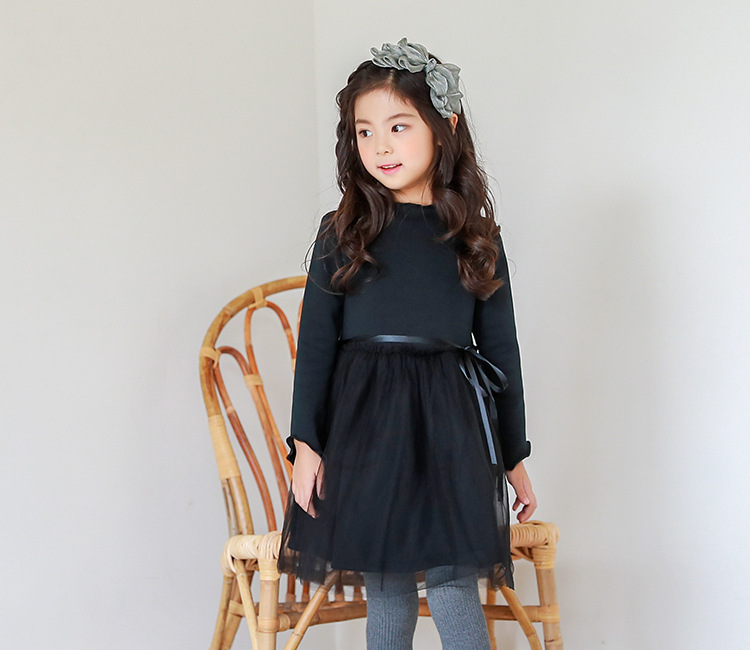4f539e247 Christmas thick teenage little girls winter dress long sleeve 2017 new kids  clothes mesh black red