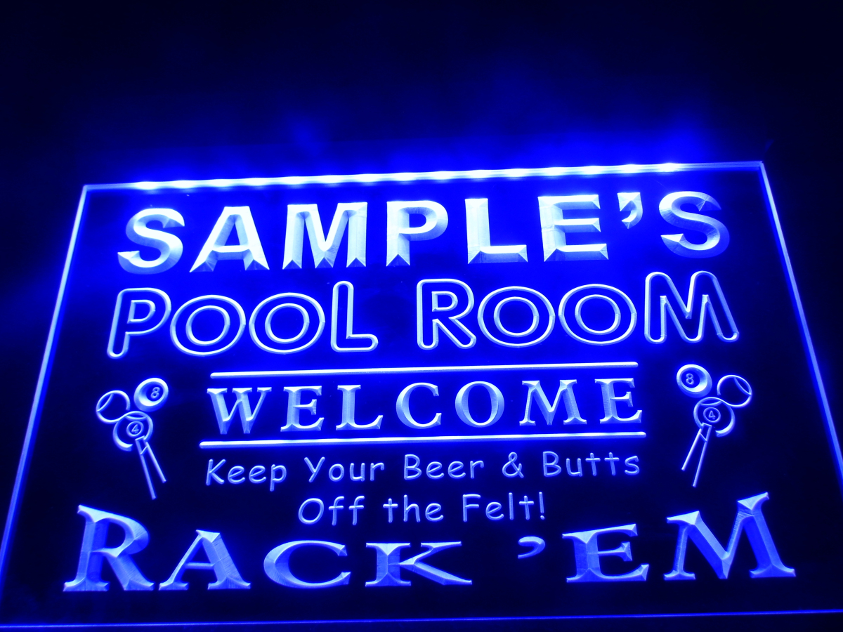 sign light room custom neon bar name pool rack signs led personalized em hang beer lighted decor yellow