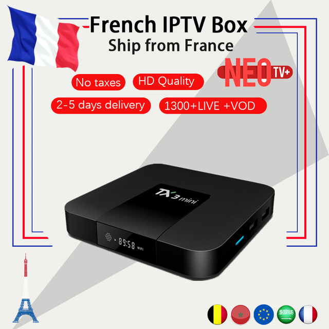 US $61 6 20% OFF|French TX3 mini android tv box android 7 1 2G 16G IPTV  box+NEO iptv code 1300 live Europe Belgium Arabic iptv M3U smart tv box-in