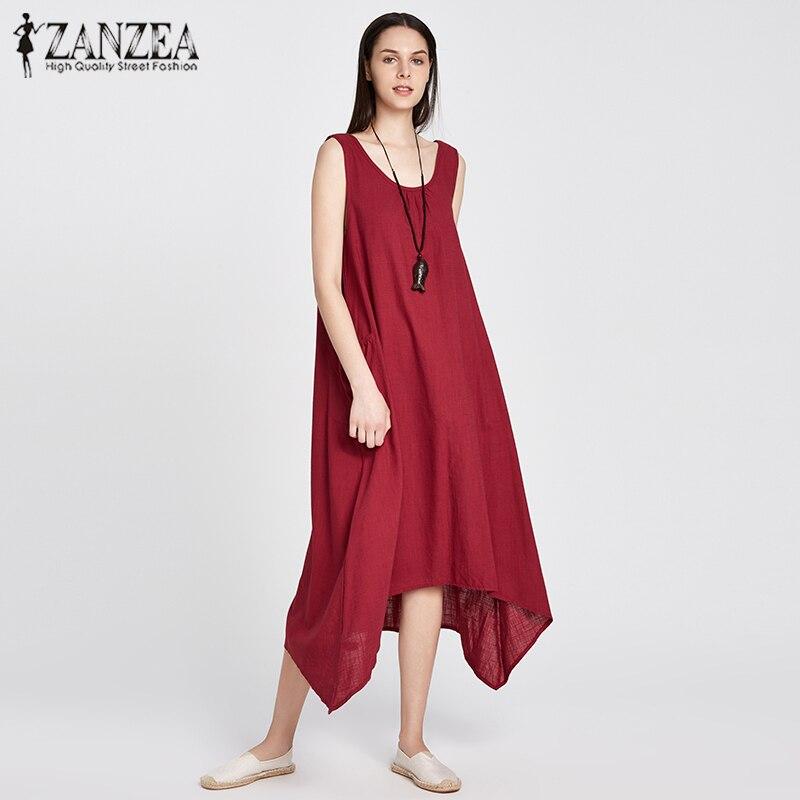 ZANZEA 2018 Summer Boho Women Casual Loose Sleeveless Long Dress Vintage Pockets Irregular Maxi Dresses Plus Size Vestidos