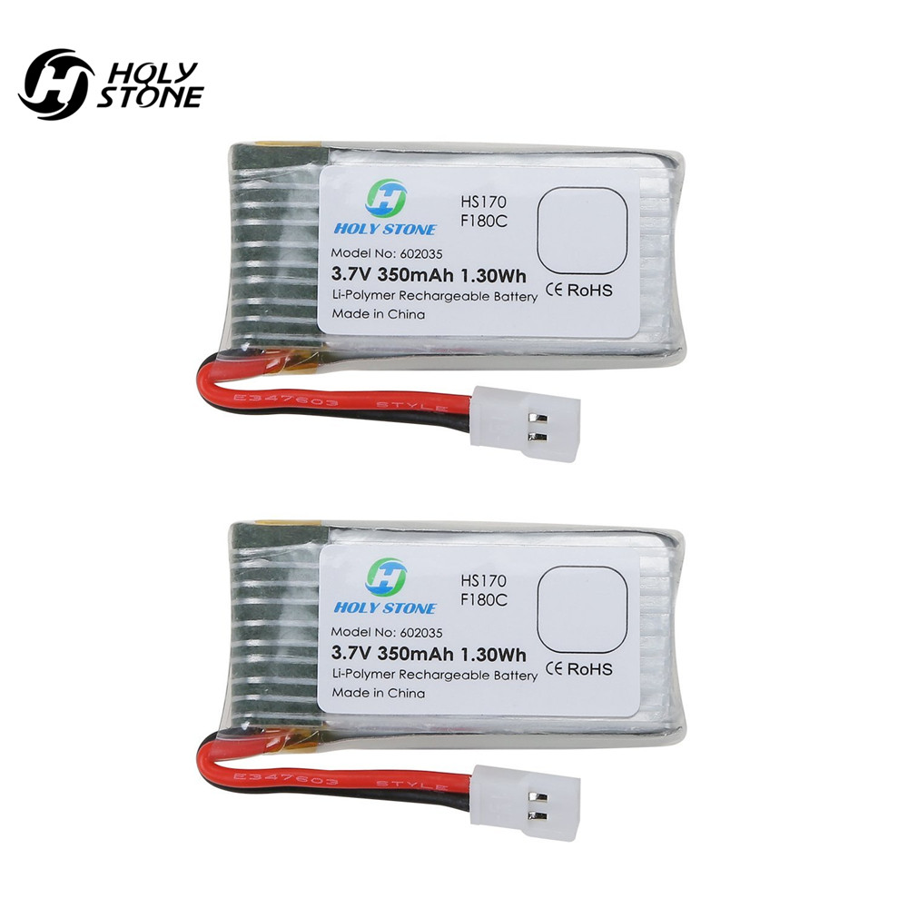 Holy Stone HS170 Drones Battery 2PCs of 3.7V 350mAh Lipo Battery for RC Quadcopter HS170C F180W F180C H107 backup power set 2