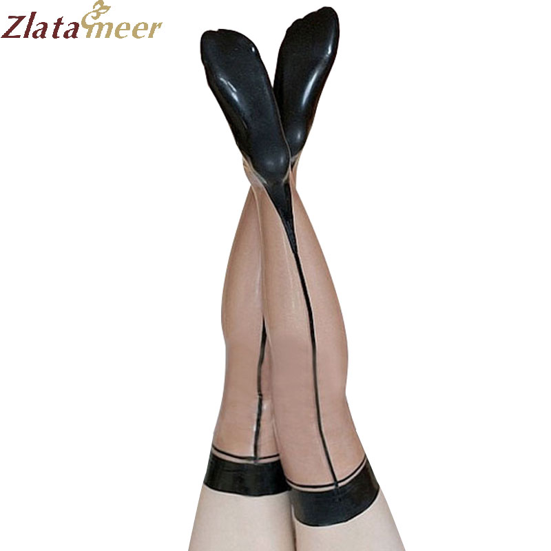 Transparent Long Latex Stocking with Black Trim Sexy Tights High Stockings LA076