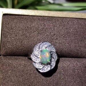 Image 5 - Tự nhiên opal phụ nữ nhẫn thay đổi màu lửa bí ẩn 925 bạc có thể điều chỉnh kích thước