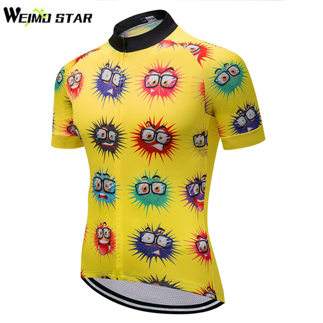 e47bc1673 WEIMOSTAR Team Mens Cycling Jersey Short Sleeve Ropa Ciclismo Bicycle  Clothing Bike Sport Wear Clothes Shirts Tops Yellow S-XXXL