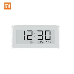 Image 1 - Xiaomi MIJIA BT4.0 ساعة رقمية ذكية لاسلكية ، ساعة داخلية وخارجية ، مقياس رطوبة ، ميزان حرارة ، LCD ، أدوات قياس درجة الحرارة