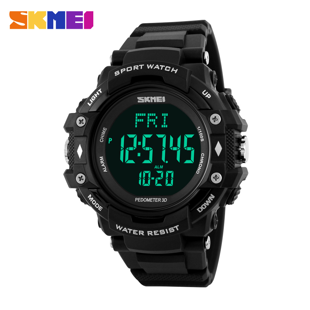 SKMEI Men's Sports Health Watches 3D Pedometer Heart Rate Monitor Calories Counter 50M Waterproof Digital LED Wristwatches men