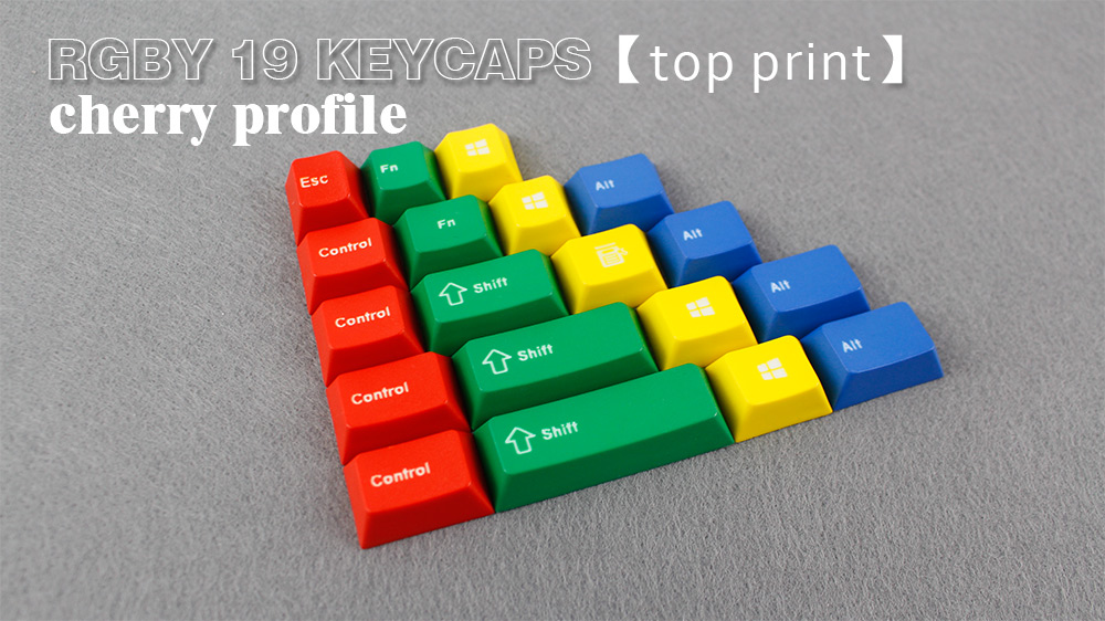 ENJOYPBT CMYW 24 keycaps cherry profile top print 24 keys for mechanical gaming keyboard 19 RGBY WKL cherry print ruffle top