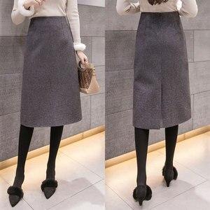 Image 2 - Flectit Fall Winter Warm Wool Houndstooth High Waist Pencil Midi Skirt Slim Knee Length Back Split Work Skirt Plus Size S  XXL