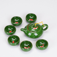 New Design 3D Carp Kung Fu Tea Set,Ceramic Tea Sets,TeaCup,ChineseTravel Tea Set, 1 pot 6 cup,Tea Sets Wholesale