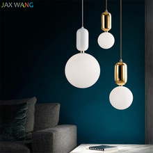 modern Glass Ball Pendant Lights Iron Hoop Hanging Lamp for bedroom loft dinning kitchen industrial decor hanging light fixtures недорого