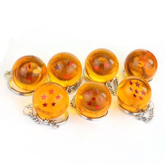 Japanese Anime Dragon Ball Z 7 Stars Balls 2.7cm PVC Figures Toys Keychain Pendant Dragon Ball Crystal Balls Collection Toy