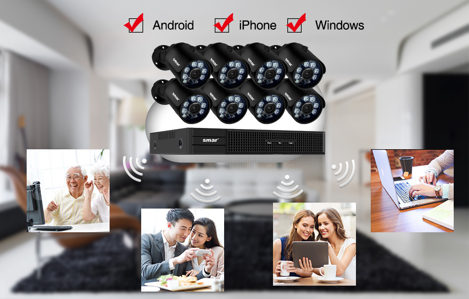 home camera system Smar H.265 8CH CCTV Surveillance Kit 2MP Security Camera System 4CH 8CH POE NVR With 1080P POE IP Camera Set Real Plug and Play (11)