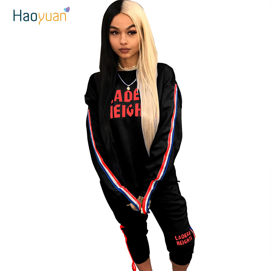 HAOYUAN Two Piece Set Outfits Autumn Hoodies Tops+Side Ribbon Pants Sweat Suits Letter Printed Tracksuit Women Matching Sets