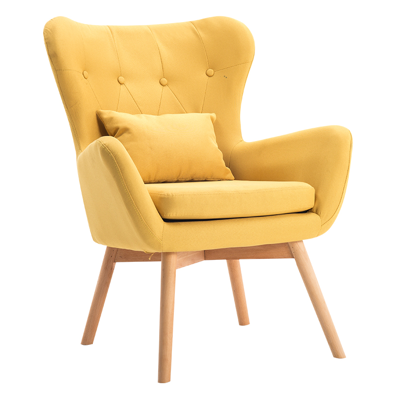 Mid-Century Modern Single Sofa Chair with Tufted Back&Wood Legs Couch For Living Room Furniture Seat Sofa Accent Chair Armchair the nordic chair solid wood chair cloth art single person sofa chair
