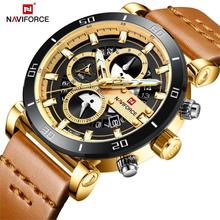 NAVIFORCE Brand New Fashion Men Watch Analog Leather Sports Watches Men's Army Military Man Quartz Clock Relogio Masculino 2019