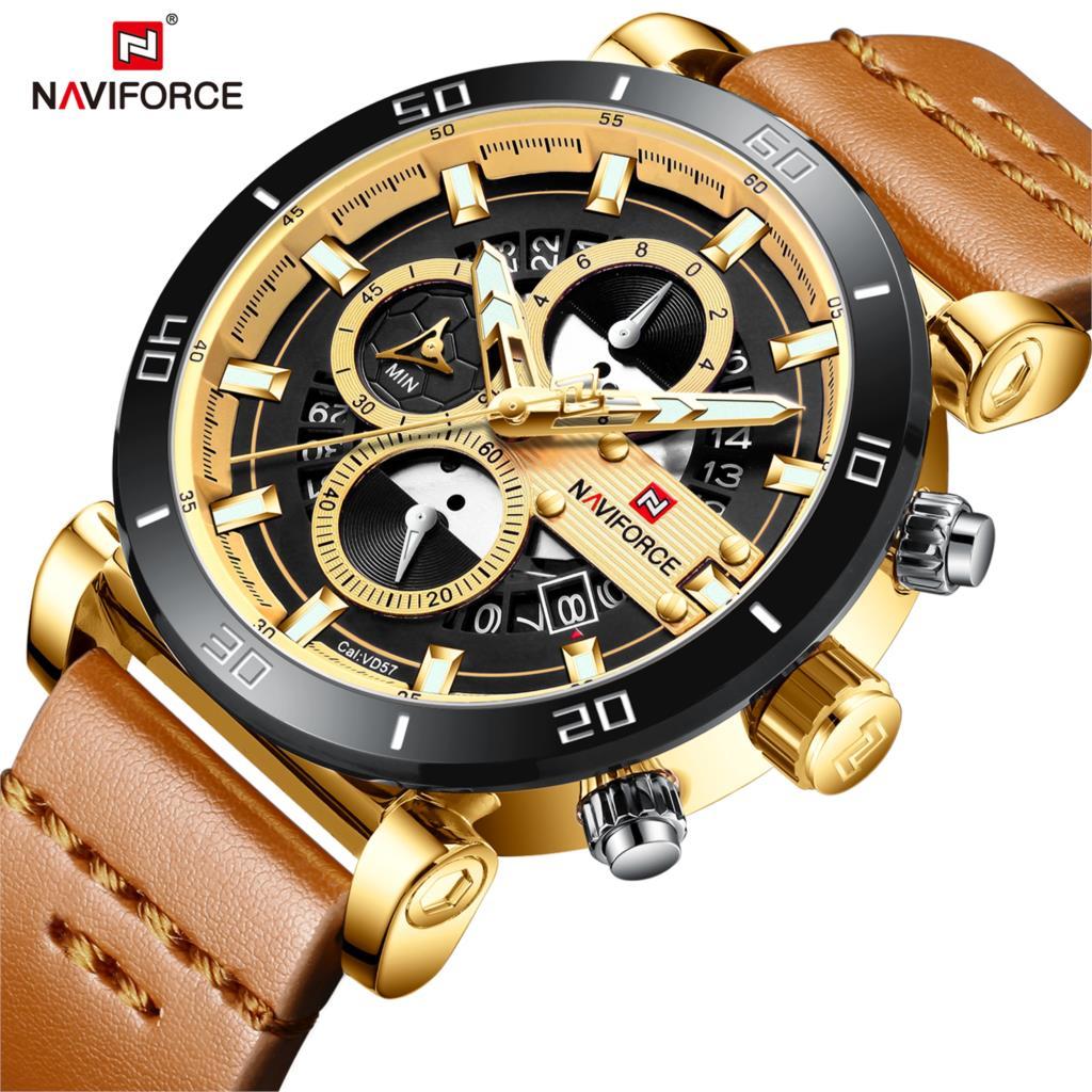 NAVIFORCE Marca Novos Homens Da Moda Relógio Analógico Homem Militar Do Exército dos homens de Couro Relógios Desportivos Relógio de Quartzo Relogio masculino 2019