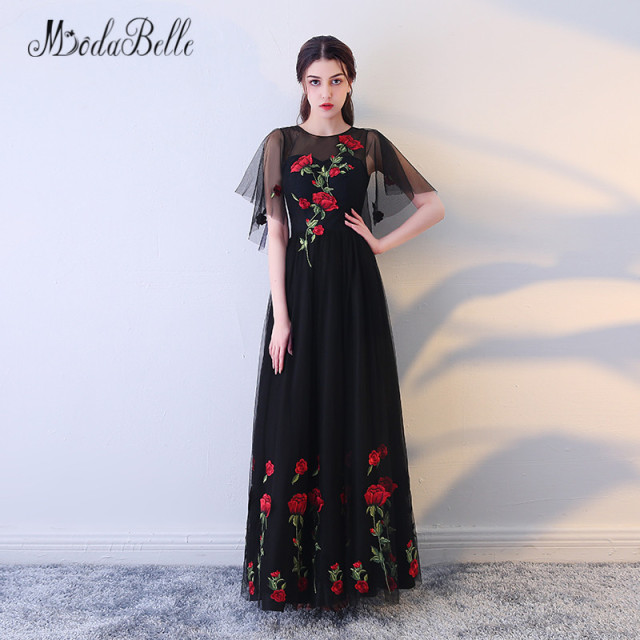 Modabelle Red Colored Black Floral Prom Dresses With Flowers Tulle