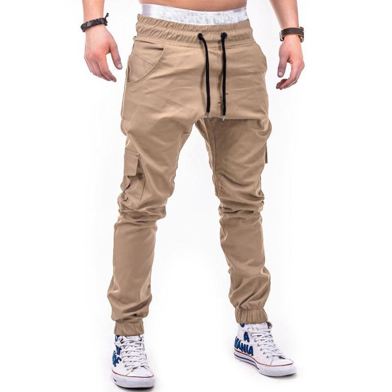 HTB10lilkljTBKNjSZFwq6AG4XXaP Men's Pants 2018 Fashion Men's Pure Color Bandage Casual Loose Sweatpants Drawstring Pant       july22