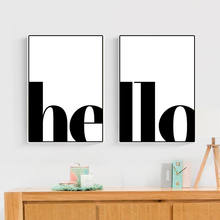 2pcs/set Black White English Word Art Canvas Poster Divided Hello Set Wall Picture Print Canvas Painting Room Decor HD2625(China)