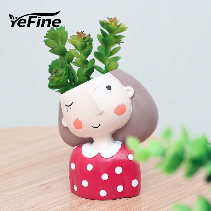 YeFine Resin Succulent Plant Pot Cute Girl Flower Planter Flowerpot Creative Design Home Decor Bonsai Pots Valentines Day Gift