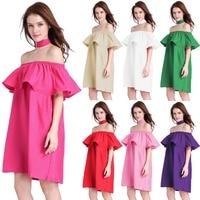 7 colores Elegantes mujeres del hombro riza el vestido de primavera y verano de las mujeres sin tirantes del vestido ocasional rojo rosa púrpura verde blanco