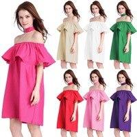 7 màu sắc Thanh Lịch phụ nữ tắt shoulder ruffles váy mùa xuân mùa hè của phụ nữ strapless ăn mặc giản dị đỏ hồng tím xanh trắng