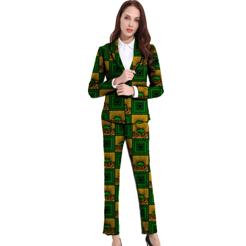 Dashiki Clothes Women Print Suits Blazers With Trousers Ankara Fashion Pant Suits Custom Made African Wedding Outfits