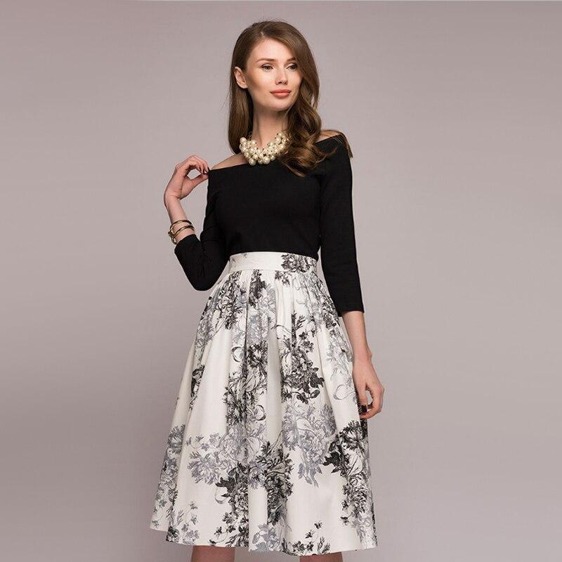 Mode une ligne épaule dénudée Floral imprimé robe à manches longues élégant Vintage robe mi-longue 2019 automne bohème fête femmes robes