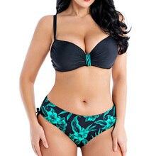 Traje de baño con realce para mujer, bañador de talla grande, bikini unicolor de talla grande, ropa de playa, ropa de baño 4XL 6XL 8XL 2020