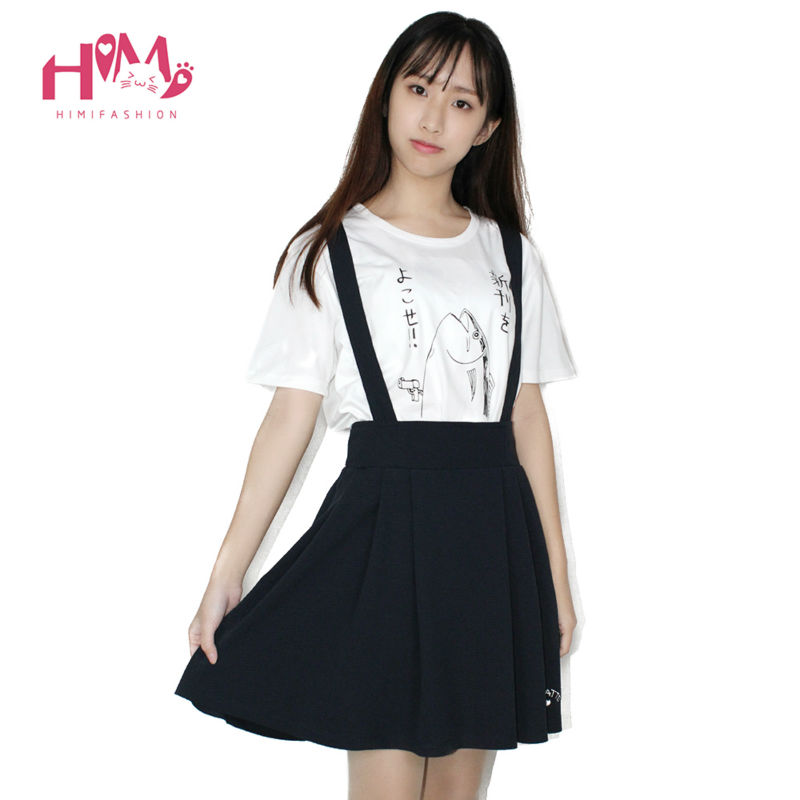 japanese college lady vintage suspenders skirt skirt all