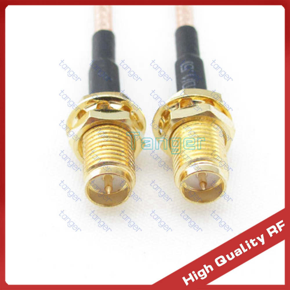 27975ce82d 3 pies pérdida baja RG316 RF coaxial pigtail cable 3 pies 100 cm con recta  RP-SMA jack hembra RP-SMA conector hembra