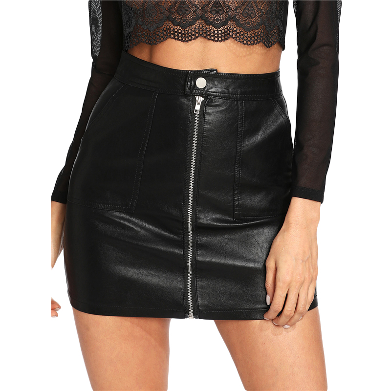 Fanco Spring Plain Faux Leather Skirt Black Mid Waist Zip Front Sexy PU Skirt Women Elegant Sheath Above Knee Mini Skirt image
