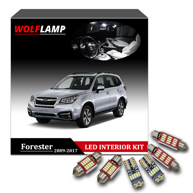 Wolflamp 10Pcs White Canbus LED Interior Car Lights For 2009-2017 Subaru Forester Map Light Door Dome Lamp License Plate Bulb 12pcs canbus white led light bulbs interior package kit for 2007 2012 mazda cx 7 cx7 map dome trunk license plate lamp pink