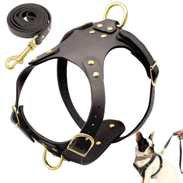 No Pull Genuine Leather Dogs Harness