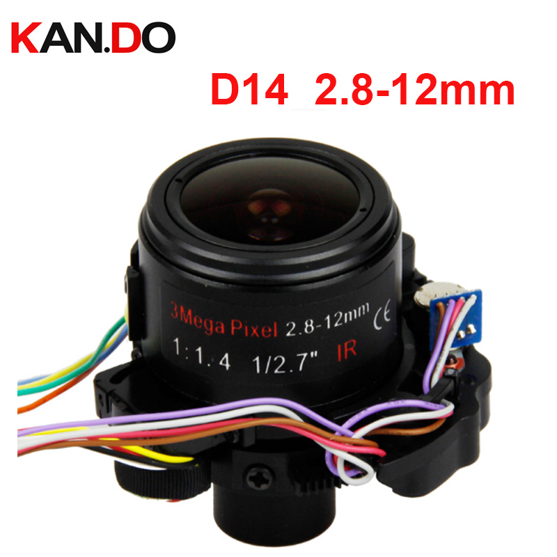 D14 3.0MP cctv lens Fixed Iris HD Motorized 2.8-12mm Varifocal CCTV IR DC lens for HD IP Camera Auto Focus Zoom ICR F1.8 lens