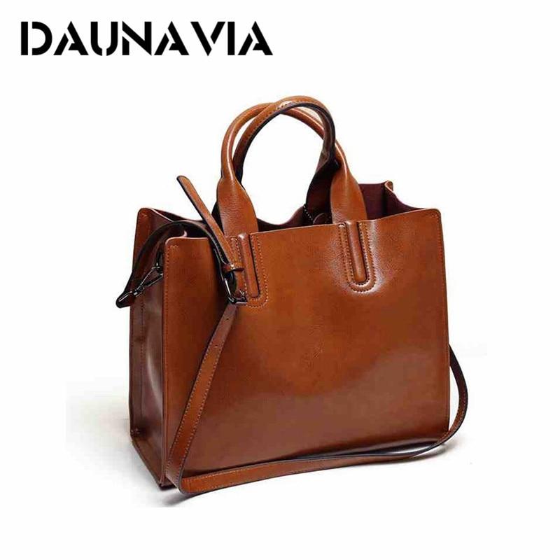 DAUNAVIA Leather Bags Handbags Women Famous Brands Big Women Casual Bag Trunk To