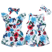 UK Toddler Baby Girls Flower Romper Jumpsuit +Headband Clothes Outfits
