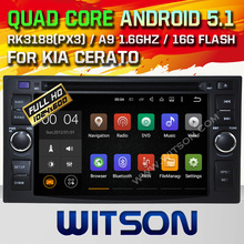 WITSON Android 5.1 KIA CERATO/SPORTAGE CAR DVD GPS Capacitive touch screen Cortex A9 dual-core 1.6G, 16GB Rom Free Shipping